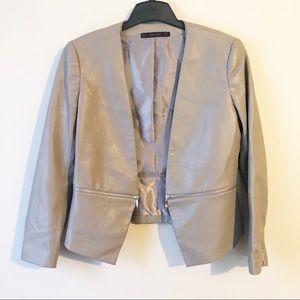 Zara Faux Leather Zippered Detail Jacket
